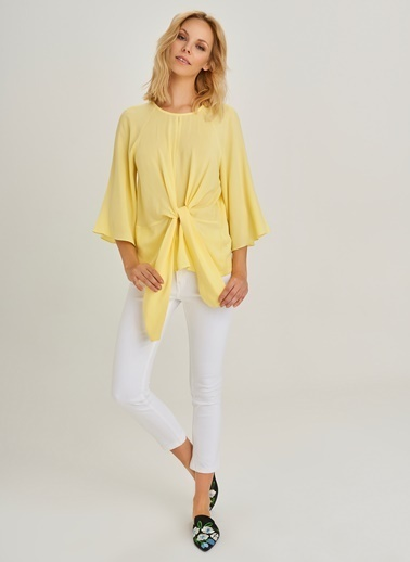 People By Fabrika Bağlama Detaylı Bluz Sarı